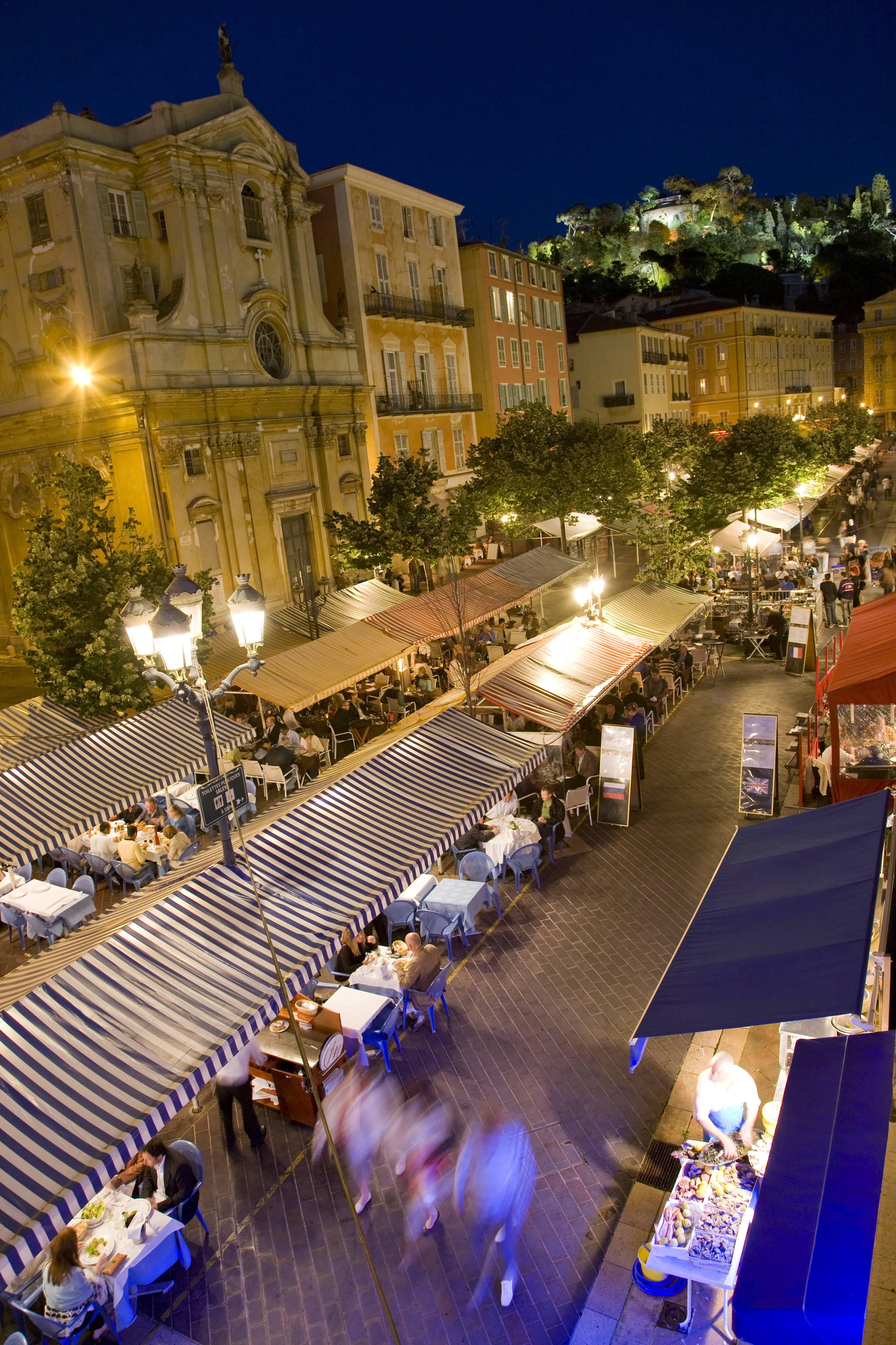 France, Cote d Azur, Nice, Cours Saleya at night PUBLICATIONxINxGERxSUIxAUTxHUNxONLY WD00135France Cote D Azur Nice Cours Saleya AT Night PUBLICATIONxINxGERxSUIxAUTxHUNxONLY WD00135