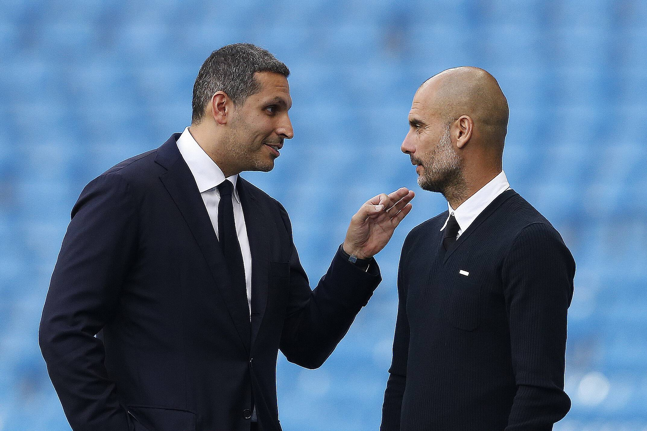 Manchester City manager Pep Guardiola chats with Manchester City chairman Khaldoon Al Mubarak after the Premier League match between Manchester City and West Ham played at The Etihad Stadium, Manchester on 28th August 2016 / Football - Premier League 2016/17 Manchester City v West Ham United Etihad Stadium, Ashton New Rd, Manchester, United Kingdom 28 August 2016 Â PUBLICATIONxNOTxINxUKxFRAxNEDxESPxSWExPOLxCHNxJPN BPI_280816_Man_City_v_West_Ham_30.jpgManchester City Manager Pep Guardiola Chats with Manchester City Chairman Khaldoon Al Mubarak After The Premier League Match between Manchester City and West Ham played AT The Etihad Stage Manchester ON 28th August 2016 Football Premier League 2016 17 Manchester City v West Ham United Etihad Stage Ashton New rd Manchester United Kingdom 28 August 2016 Â PUBLICATIONxNOTxINxUKxFRAxNEDxESPxSWExPOLxCHNxJPN  jpg
