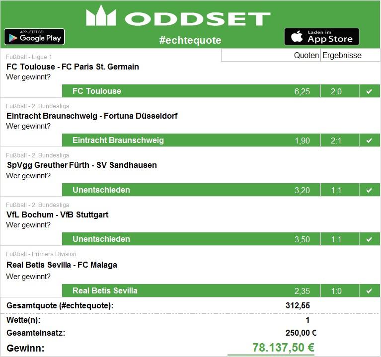 Josef aus Bayern gewinnt > 78.000 € mit einer 5er Kombi-Wette bei ODDSET.