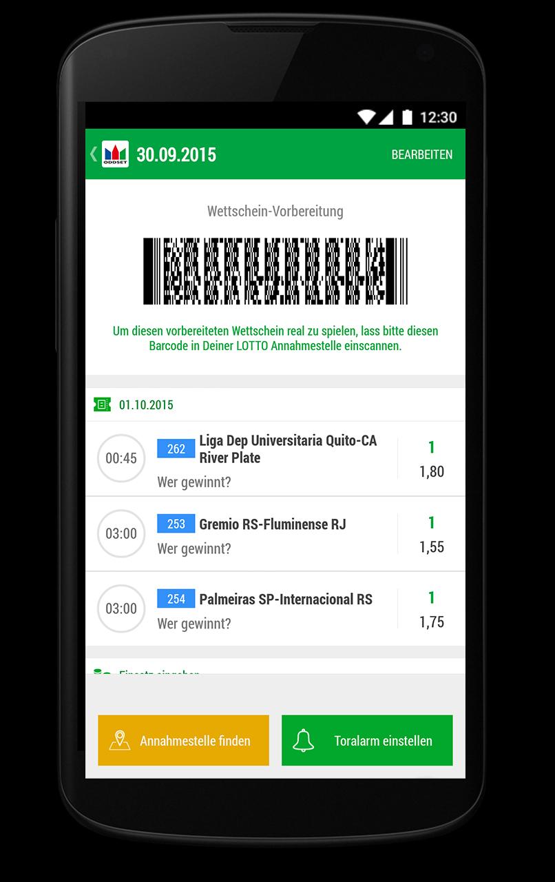 ODDSET Sport Mobile App: Vorbereiter Wettschein mit Barcode
