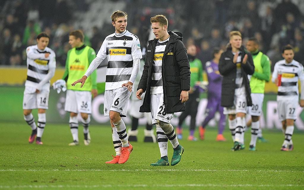Borussia Moenchengladbach - Eintracht Frankfurt 0:0, Christoph Kramer li., mit Andre Hahn (Borussia Mönchengladbach)