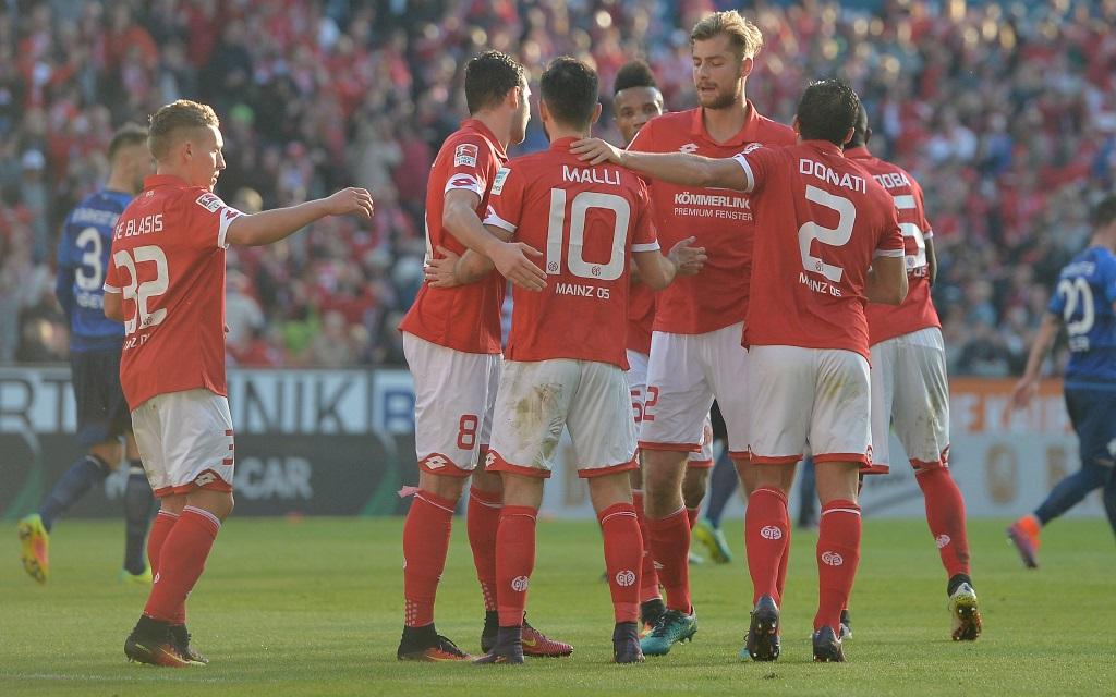 Mainzer Torjubel im Spiel gegen den SV Darmstadt 98