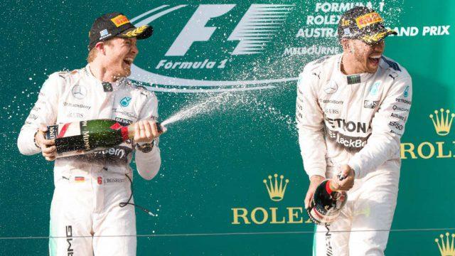 Siegerehrung beim Formel 1 GP von Australien in Melbourne 2015.