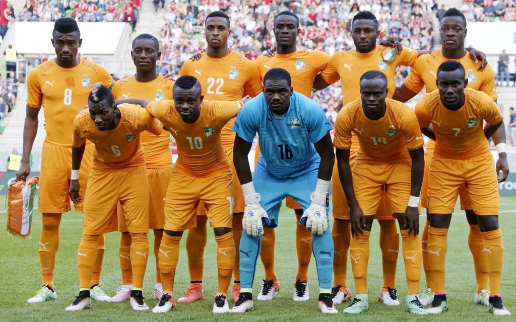 Mannschaftsfoto der Elfenbeinküste vor dem Freundschaftsspiel gegen Ungarn im Mai 2016