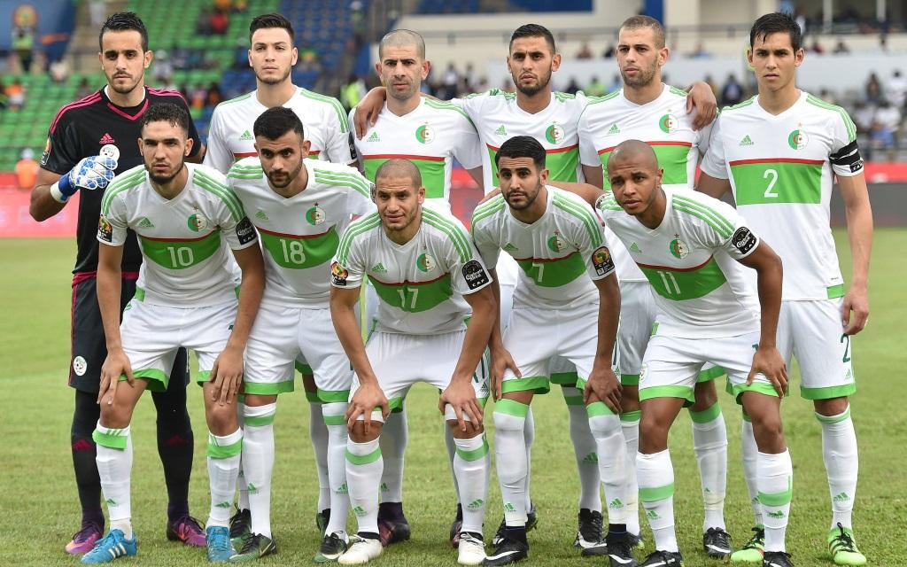 Algerische Nationalmannschaft beim Afrika Cup 2017 vor dem Spiel gegen Tunesien