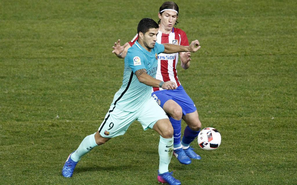 Imago: Kann Atletico (im Bild Filipe Luis) Barcelona und Luis Suárez im Rückspiel stoppen?
