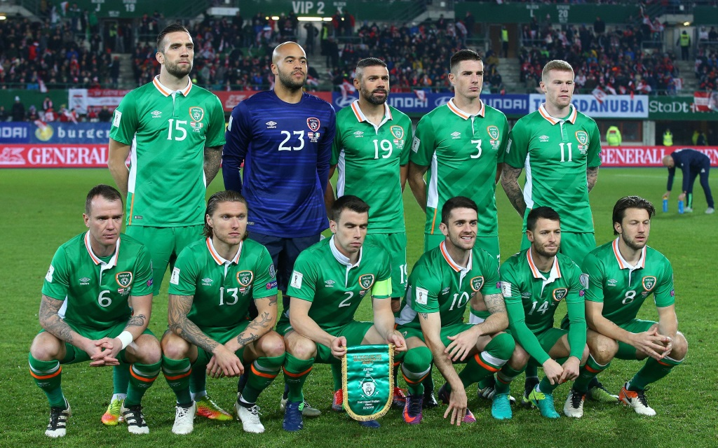 Die irische Nationalmannschaft vor dem WM-Qualifikationsspiel gegen Österreich in Wien.