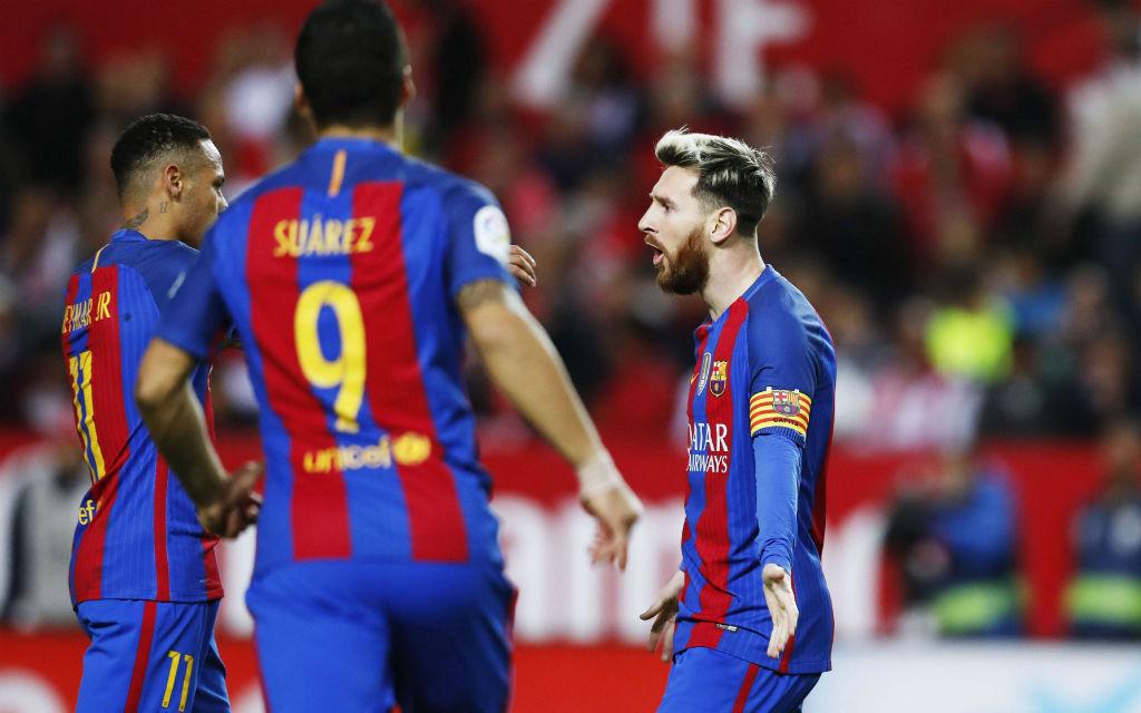 Die stürmischen Drei von Barca: Messi (r.), Suarez (m.) und Neymar (l.).