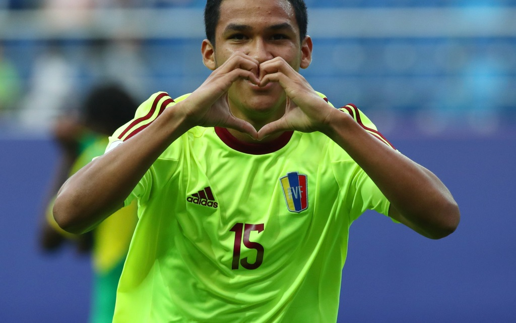 Samuel Sosa beim Torjubel im Spiel der U20-WM zwischen Venezuela und Vanuatu.