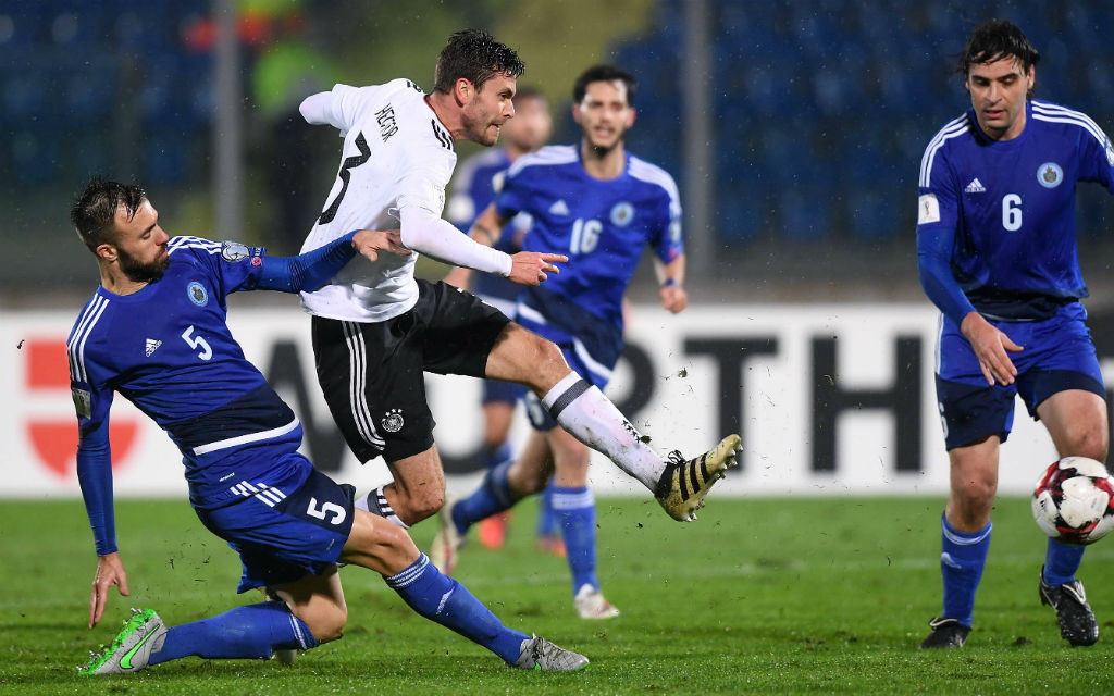 Beim 8:0 gegen Fußballzwerg San Marino erzielte Jonas Hector ein Doppelpack.