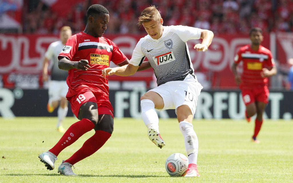 Erfurt verhinderte mit Biankadi (l.) am 1. Spieltag einen Auswärtssieg für Münster: 1:1.