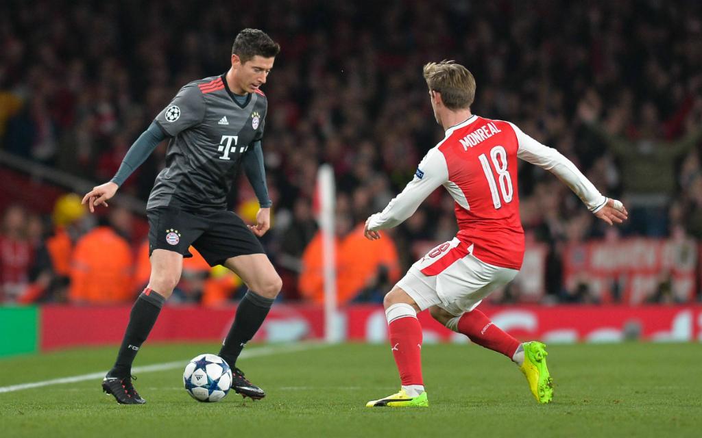 Imago/UK Sports Pics: Treffen mal wieder aufeinander: Robert Lewandowskis Bayern und Nacho Monreals FC Arsenal.