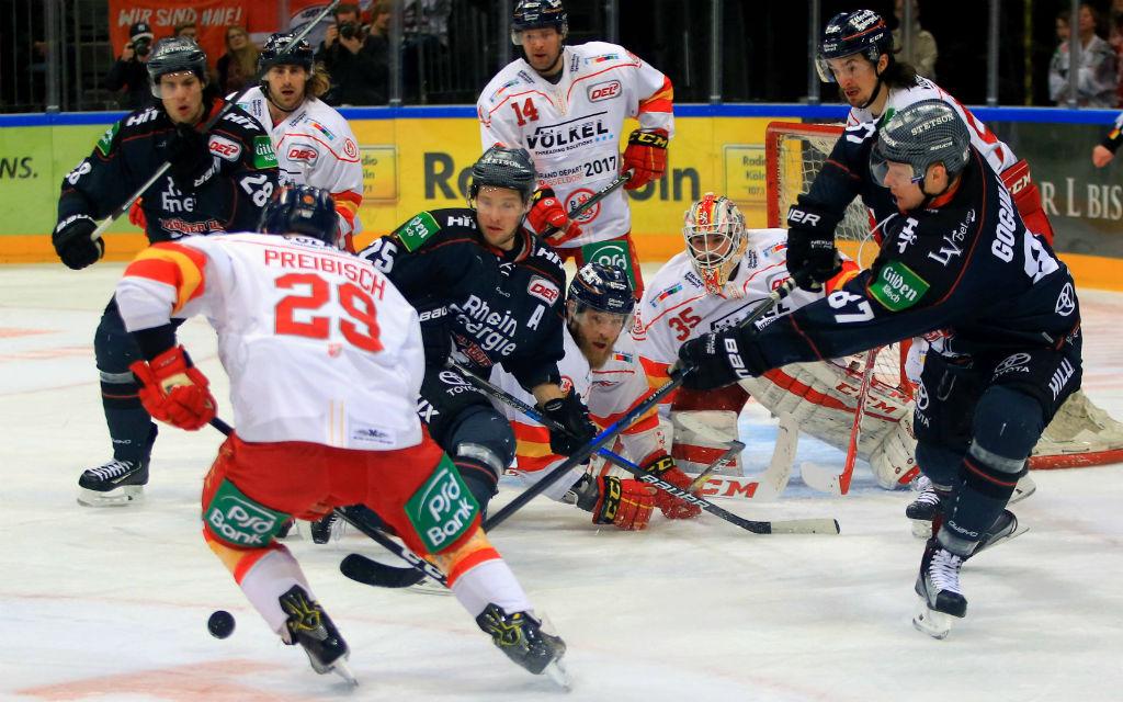 Das letzte Rheinderby gewann die DEG mit 2:0 bei den Kölner Haien.