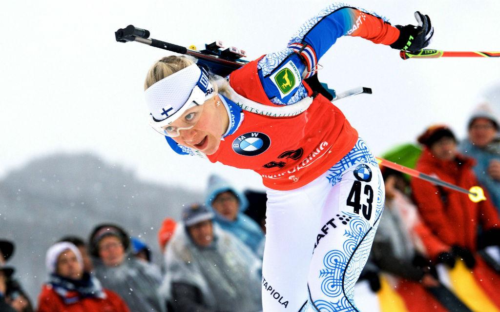 Die Finnin Kaisa Mäkäräinen bei ihrem Sprintsieg über 7,5 km im letzten Jahr in Ruhpolding.