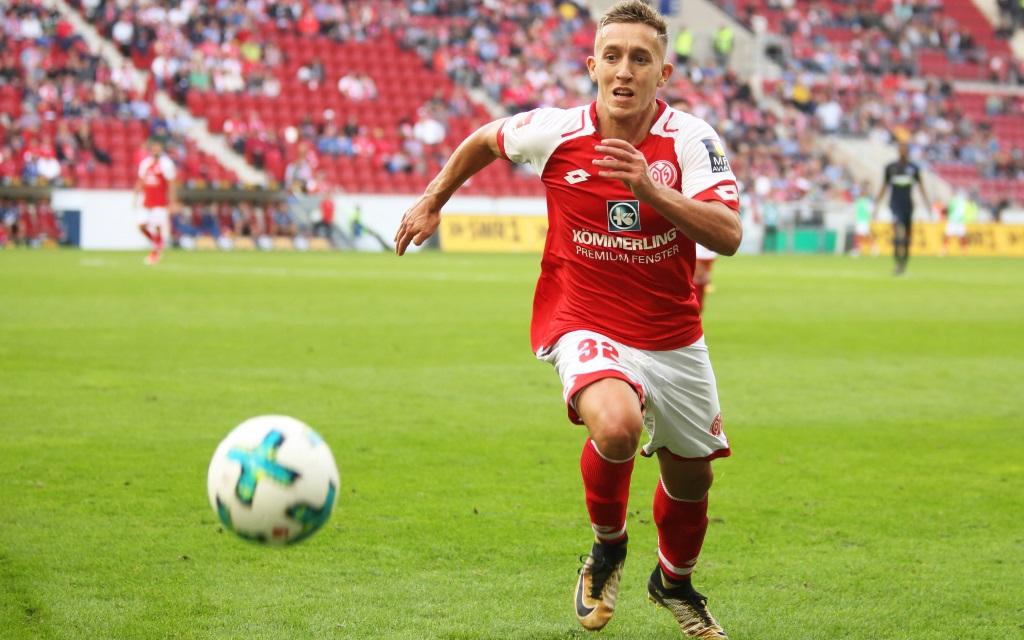 Pablo de Blasis im Hinspiel der Saison 2017/18 zwischen Mainz und Hertha BSC Berlin.