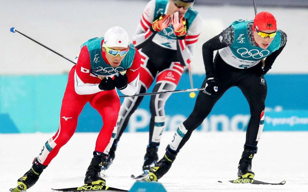 Die drei Medaillengewinner der Nordischen Kombination vom letzten Mittwoch: 1. Frenzel, 2. Watabe, 3. Klapfer.