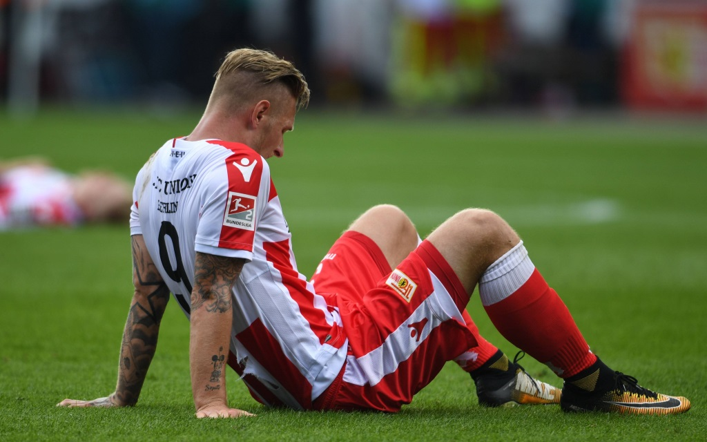 Sebastian Polter (Union Berlin) nach dem 1:1 gegen Arminia Bielefeld.