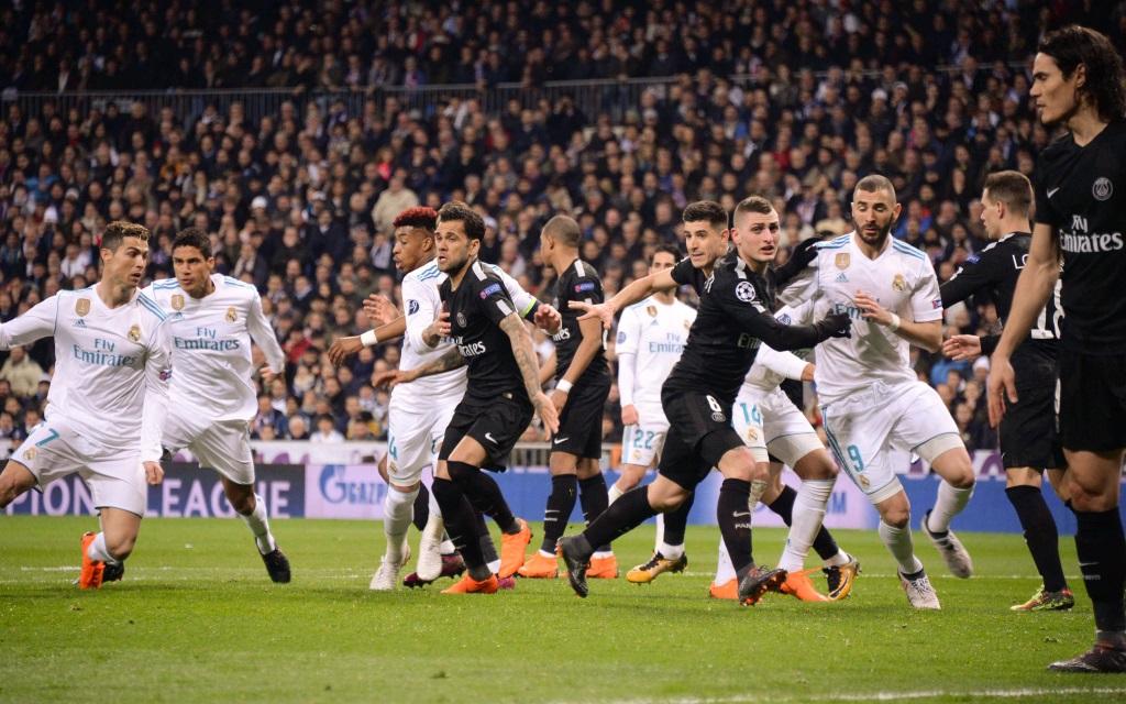 Turbulente Szene im Achtelfinal-Hinspiel zwischen Real Madrid und Paris St. Germain in der Saison 2017/18.