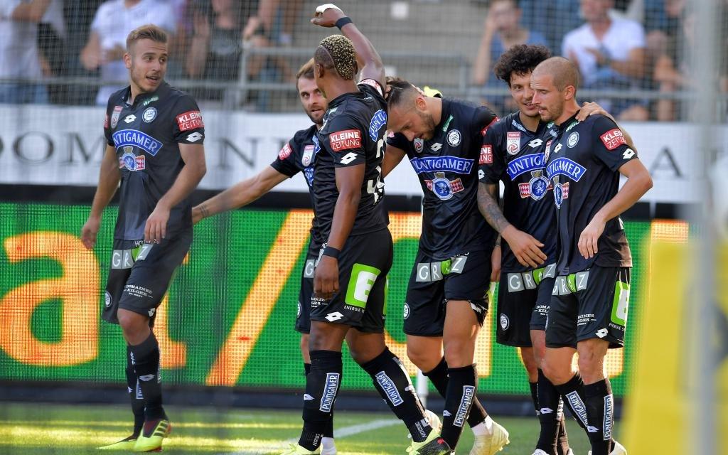 Sturm Graz beim 3:2-Erfolg am 1. Spieltag der Österreichischen Bundesliga gegen den TSV Hartberg. Gibt's nun auch Tore gegen Ajax?