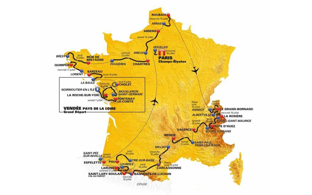 Etappenplan Tour de France 2018