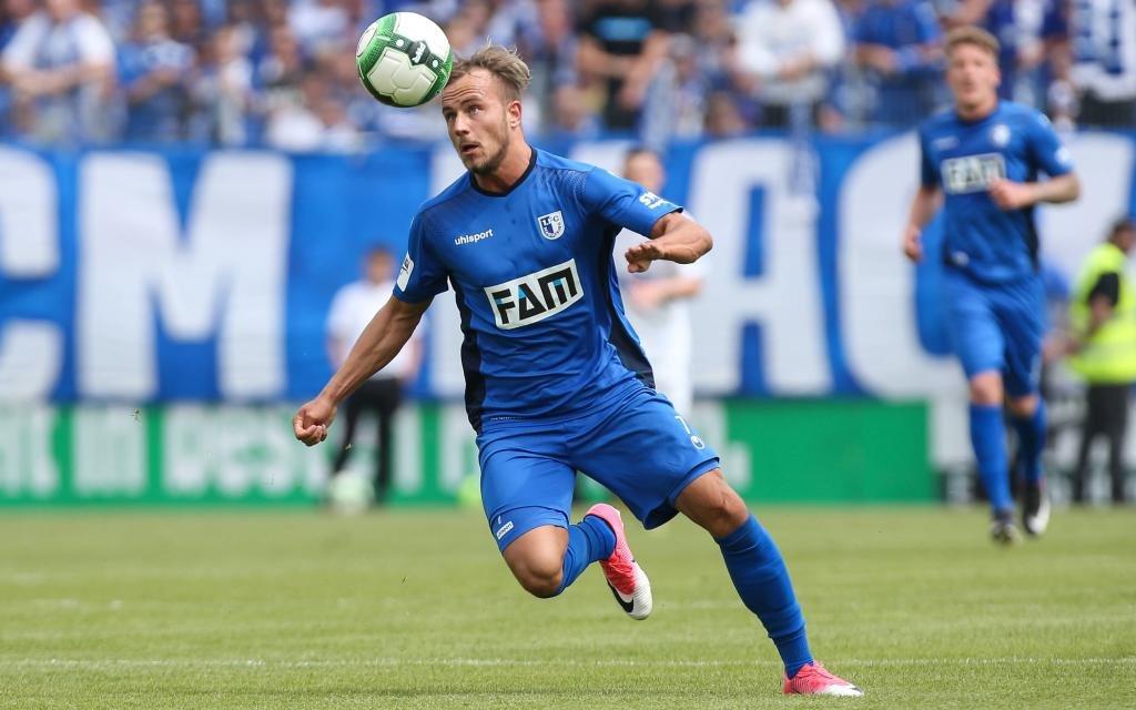 Felix Lohkemper vom 1. FC Magdeburg im Spiel gegen die Sportfreunde Lotte.