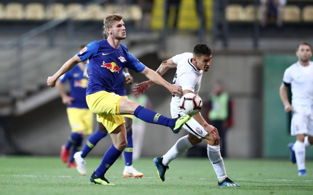 Timo Werner im Playoff-Hinspiel zwischen Sorja Luhansk und RB Leipzig.