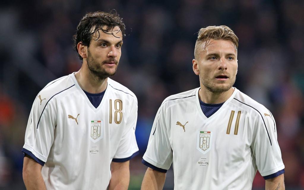Marco Parolo und Ciro Immobile im Testspiel zwischen der Niederlande und Italien.