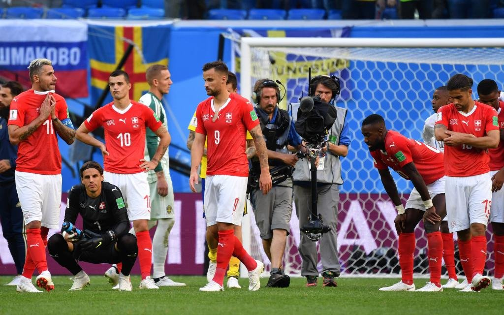Die Schweiz nach der 0:1-Niederlage im WM-Viertelfinale 2018 gegen Schweden.