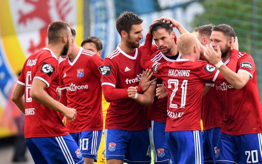 Spieler von Unterhaching im Ligaspiel gegen Eintracht Braunschweig Saison 2018/19.