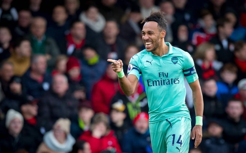 Pierre-Emerick Aubameyang beim Torjubel im Spiel AFC Bournemouth - FC Arsenal.