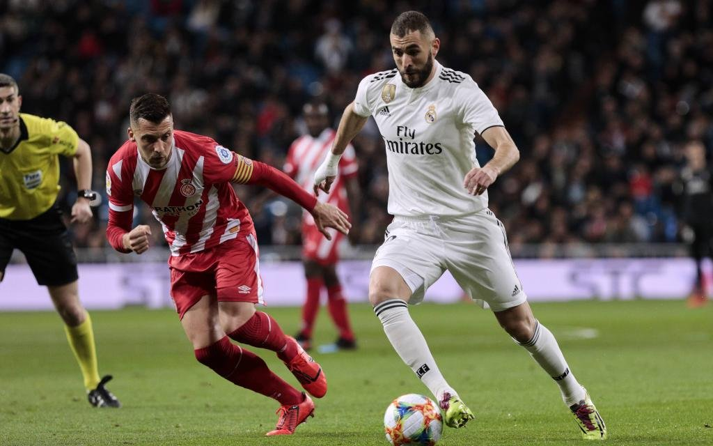 Real Madrid s Karim Benzema during Copa del Rey match between Real Madrid and Girona FC at Santiago Bernabeu