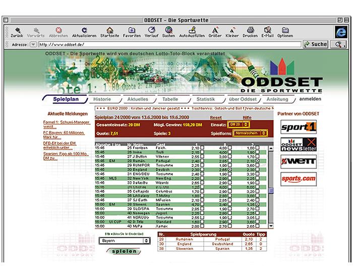 2000: Über die Webseite oddset.de – der auch heute noch gültigen Domain – kann man seine Tipps nun auch online abgeben. Die Seite versorgt den Tipper darüber hinaus auch mit Ergebnissen, Tabellen, Statistiken und Sportnews.