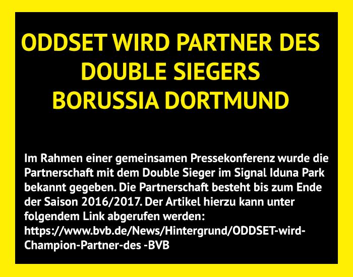 2012: Zur Bundesliga Saison 2012/2013 wird ODDSET Champion Partner von Double Sieger (Deutscher Meister und DFB-Pokal) Borussia Dortmund.