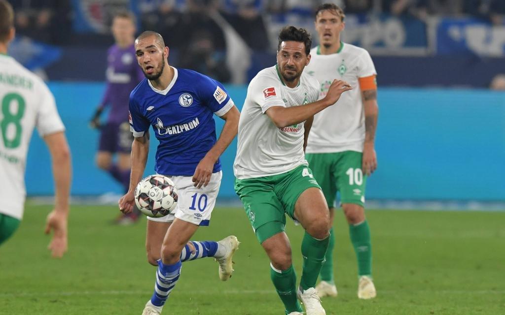 Claudio Pizarro (Werder Bremen) im Zweikampf mit Nabil Bentaleb (Schalke 04)