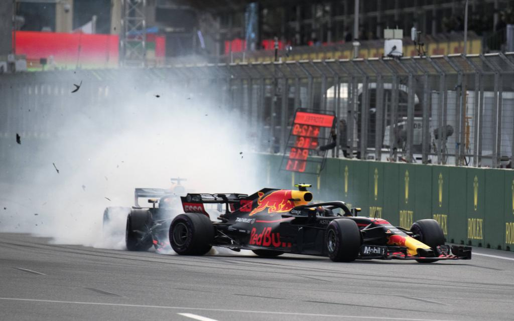 Baku 2018, die Red Bulls killen sich gegenseitig, Vettel verlor die Pole duch einen Verbremser.