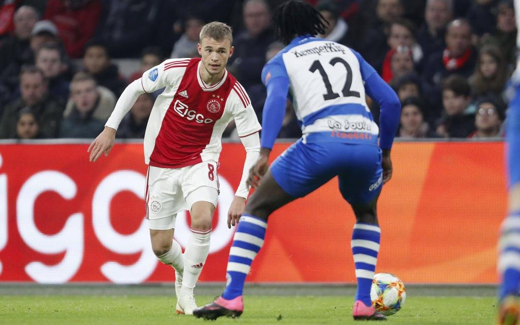 Daley Sinkgraven of Ajax, Myenty Abena of De Graafschap during the Dutch Eredivisie match between Ajax Amsterdam and De Graafschap at the Johan Cruijff Arena on December 16, 2018 in Amsterdam,