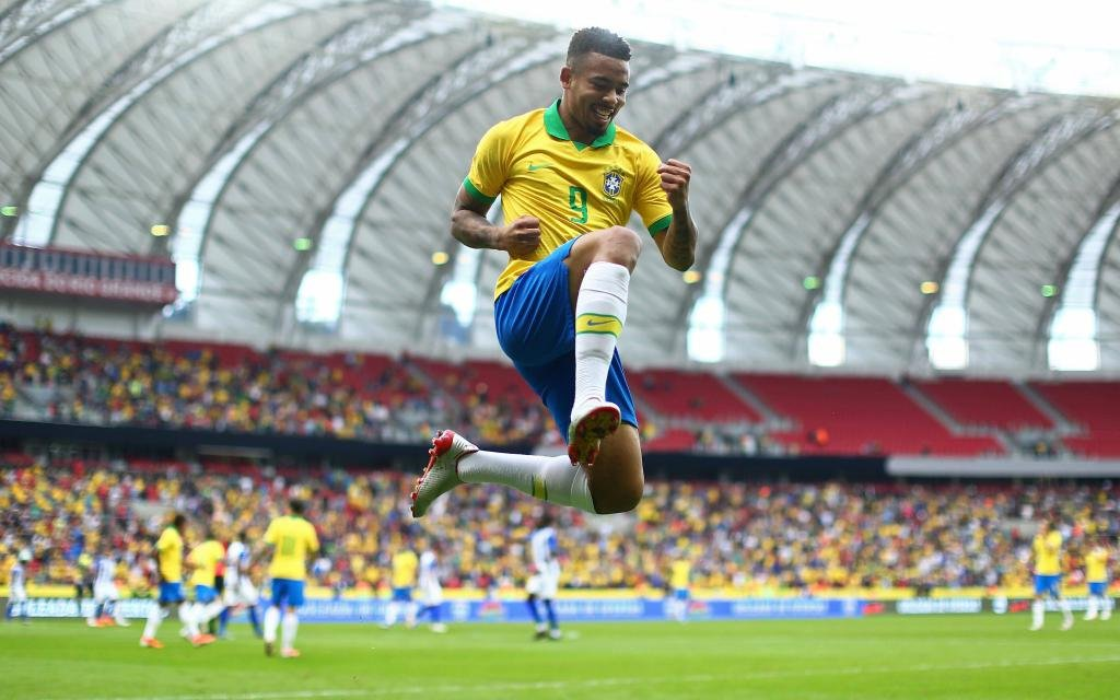 Brazil versus Honduras; Gabriel Jesus celebrates his goal for 1-0