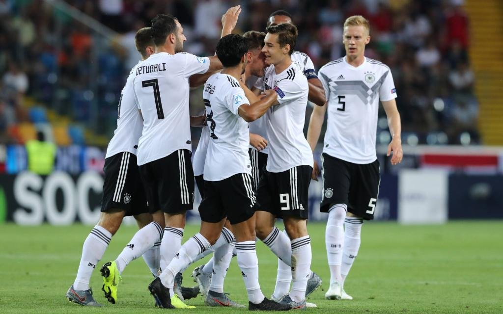 Luca Waldschmidt of Germany celebrates with team mate after scoring a goal ùUdine 23-06-2019 Stadio Friuli Football UEFA Under 21 Championship Italy 2019 Group Stage - Final Tournament Group B Austria - Germany Photo Cesare Purini / Insidefoto. Fußball,Football,UEFA,Europeo, Under, 21, 2019,Under, 21,Euro, U21,, U, Uefa, Championship, Italy, 2019,Nazionale,Nationales,National,Nationalteam, national, team,, Nationalteam, Nationalteam,Nazionali,U21,Under21,Österreich,Austria,Germania,Deutschland.
