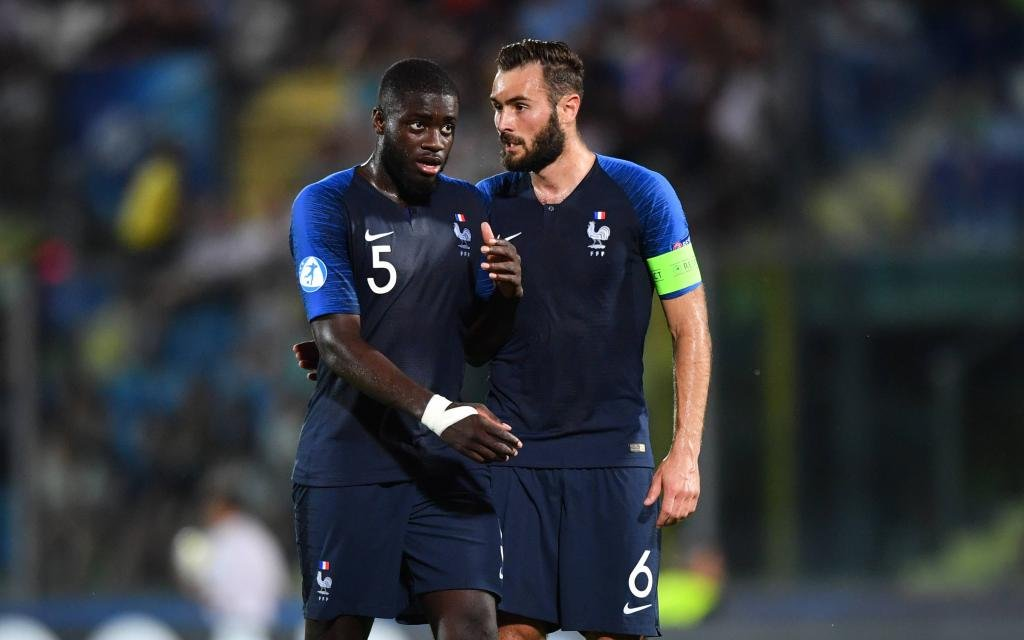 "France vs Croatia - UEFA Under 21 Championship Italy 2019 - Group stage final tournament Group C - ""San Marino - Serravalle"" stadium. In the pic: Lucas Tousart (Francia) and Dayot Upamecano (Francia)"