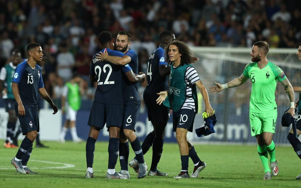 France celebrates at the end of the match Cesena 18-06-2019 Stadio Dino Manuzzi Football UEFA Under 21 Championship Italy 2019 Group Stage - Final Tournament Group C England - France