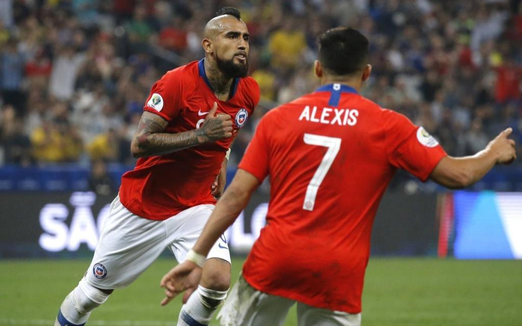 Arturo Vidal nach einem Tor der Chilenen gegen Kolumbien bei der Copa America 2019.