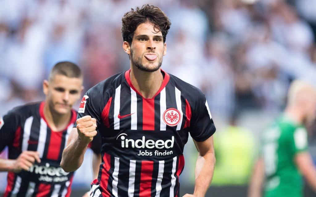 Torschuetze Goncalo PACIENCIA (F) jubelt über sein Tor zum 1:0 für Eintracht Frankfurt über Flora Tallinn.