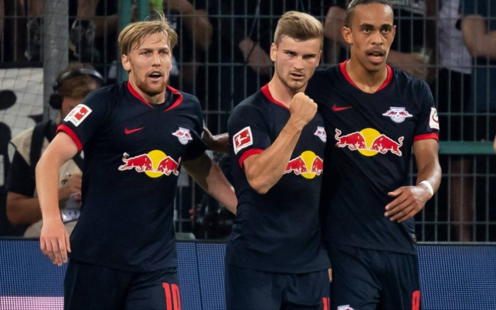 Leipzig feiert: Forsberg, Werner und Poulsen (v.l.)