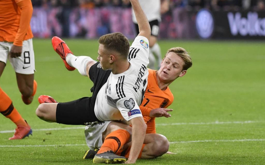 EFA EURO EM Europameisterschaft Fussball 2020 - Qualifying Group C : Netherlands 2-3 Germany at the Johan Cruijff Arena on March 24, 2019 in Amsterdam, Netherlands. Frenkie de Jong (Ajax) and Joshua Kimmich (GER)