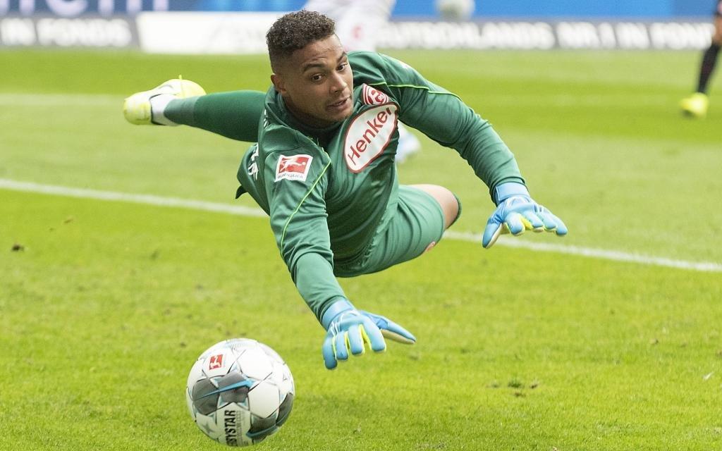 Torwart Zackary STEFFEN (D) Aktion, Fussball 1. Bundesliga, 3.Spieltag, Eintracht Frankfurt (F) - Fortuna Duesseldorf (D) 2:1, am 01.09.2019 in Frankfurt/Deutschland