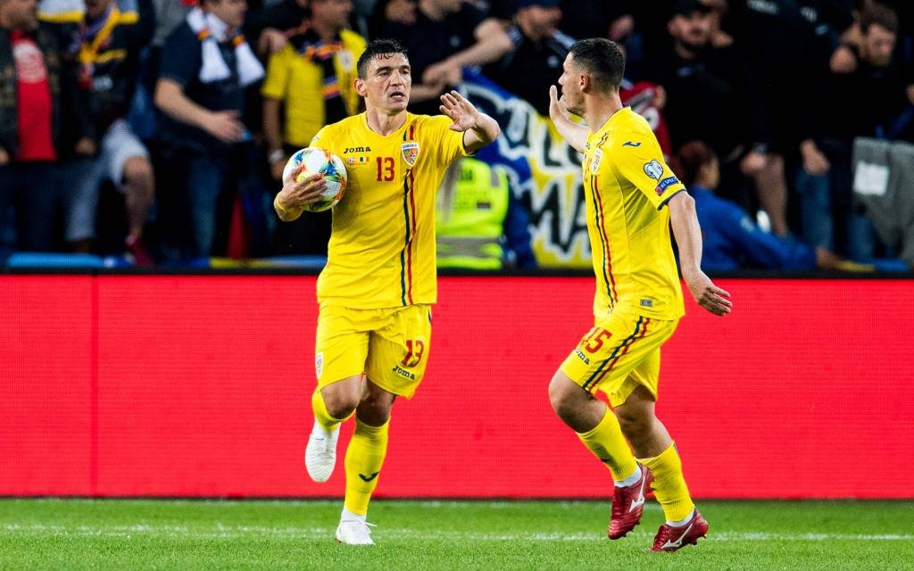 Claudiu Keseru of Romania celebrates after scoring the 2-1 goal during the UEFA EURO, EM, Europameisterschaft,Fussball Qualifier, EM, Europameisterschaft football match between Norway and Romania on June 7, 2019 in Oslo