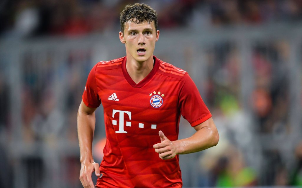 Benjamin Pavard of FC Bayern Munich during the Pre-season Friendly match between Tottenham Hotspur FC and Bayern Munich at Allianz Arena on July 31, 2019 in Munich, Germany