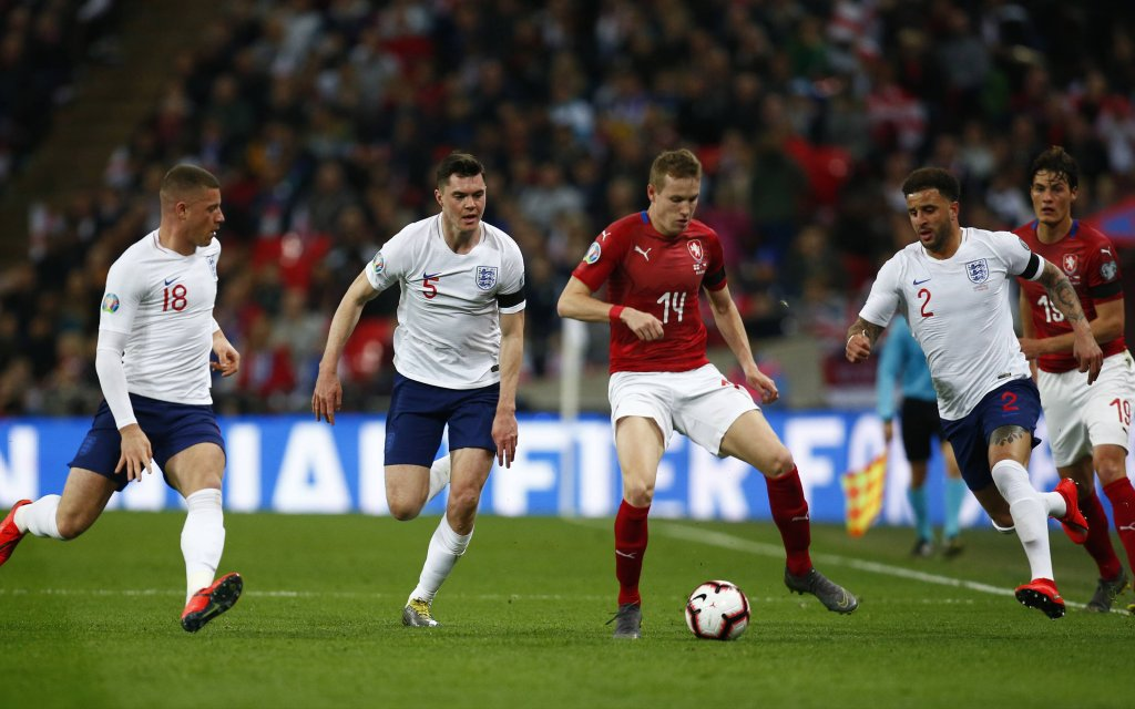 London, England, United Kingdom - Jakub Jankto of Czech Republic (Red).during European Championship EM Europameisterschaft Qualifying 2020 between England and Czech Republic at Wembley stadium , London