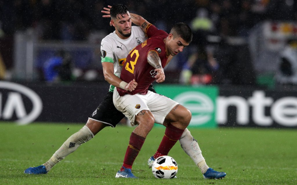 UEFA AS Roma vs Borussia Moenchengladbach Rome 24/10/2019 Stadio Olimpico Europa League AS Roma vs Borussia Moenchengladbach Gianluca Mancini Roma and Ramy Bensebaini Monchengladbach