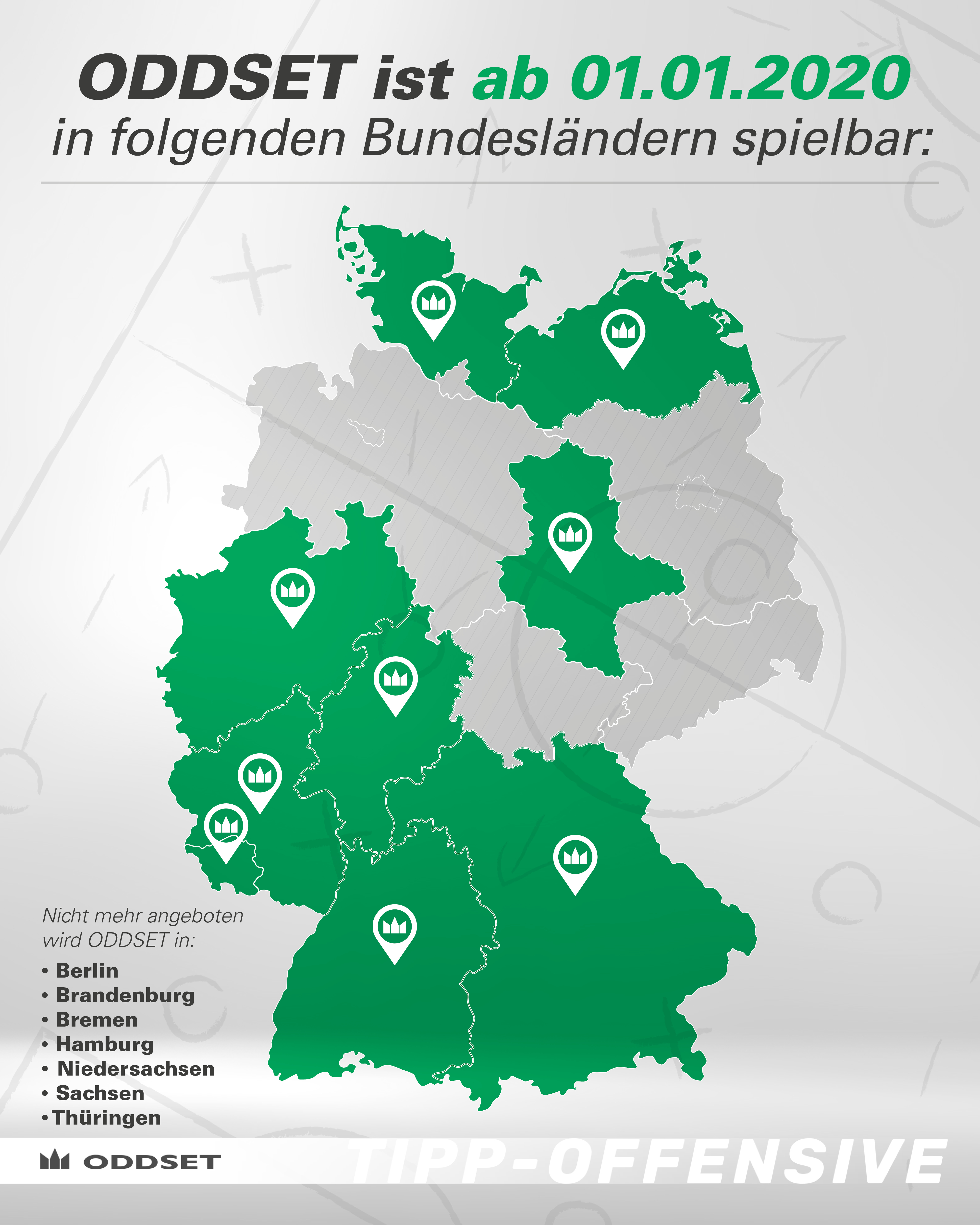 In diesen Bundesländern kann man ab dem 1. Jan 2020 ODDSET in den LOTTO-Annahmnestellen spielen.